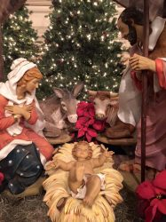 Here is Baby Jesus with Mary and Joseph.
