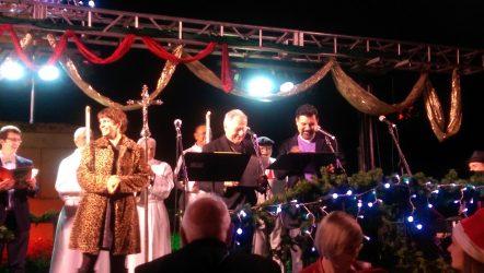 Archbishop Aymond led the crowd in a Christmas carol.
